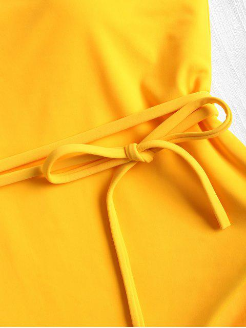 new Belted One Shoulder One-piece Swimsuit - BRIGHT YELLOW L Mobile