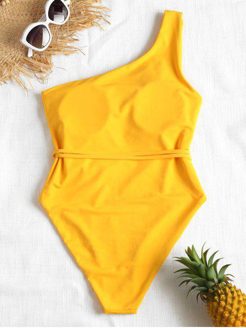 outfit Belted One Shoulder One-piece Swimsuit - BRIGHT YELLOW S Mobile