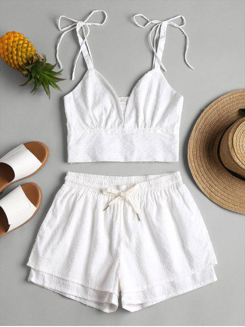 buy Bralette Top and Layered Shorts Two Piece Set - WHITE M Mobile