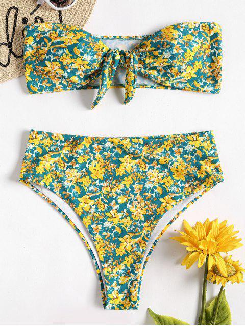 Bikini Bandeau Taille Haute Noué Fleur - Multi M Mobile