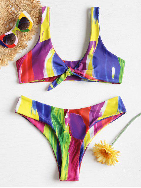 women Rainbow Paint Knot Bikini - MULTI M Mobile