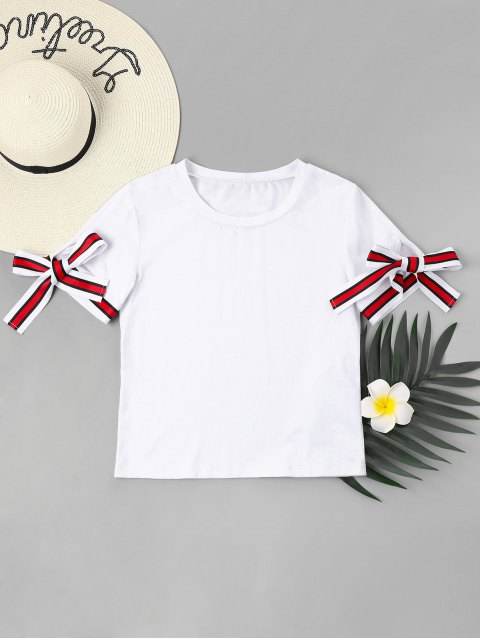 trendy Knotted Sleeves T-Shirt - MILK WHITE XL Mobile