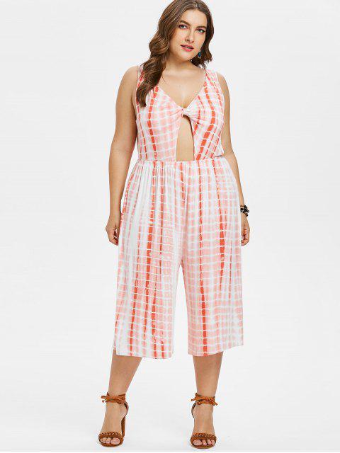 womens Plus Size Tie Dye Backless Twist Jumpsuit - WATERMELON PINK 4X Mobile
