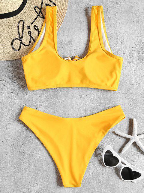 Gepolstertes Bikini-Set mit Schnürung - Helles Gelb S Mobile
