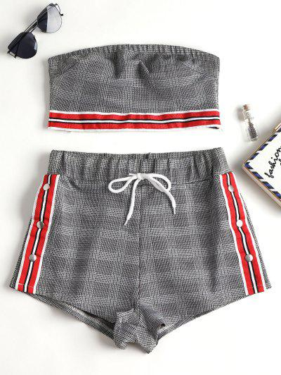 Houndstooth Checked Tube Top Shorts Set - Multi S