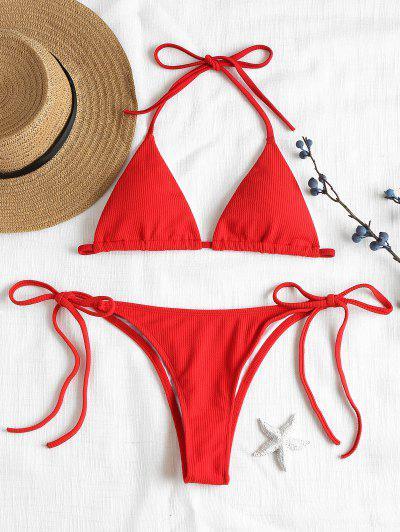 Ribbed String Bikini Set - Love Red L