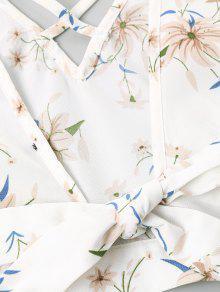 Blanco Floral Con Pantalones Anudados S Cortos Estampado CXwwRI6q