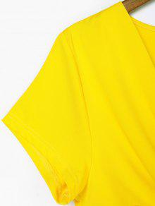 De S Camiseta Cuello Amarillo Con Twist Redondo Sol HFXZfq