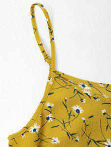 Con S Volantes Amarillo Camisero Floral Vestido Brillante 0xqZawg