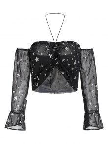 Cinched Shiny Star Top - أسود L