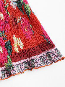 De Multicolor Floral Top S Corbata Smocked Lazo Crop f7wqa