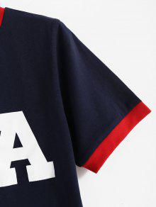 Azul Profundo Americana L Camiseta De Bandera Ringer 243;tica Ringer Patri Con vv08Twng