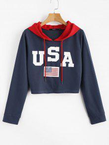 العلم الأمريكي الوطني الجرافيك المحاصيل هوديي - قيق أزرق L