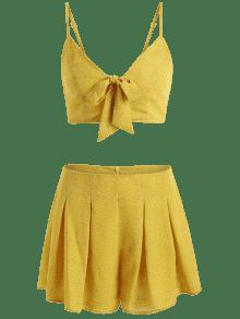 Y Front Top Tie Amarillo Set Dots Shorts Brillante S HTtqFF