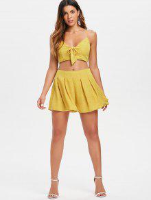 Y Front Top Tie Amarillo Set Dots Shorts Brillante S HTtqFF
