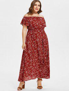 بالاضافة الى حجم ماكسي معطلة الكتف فستان زهري - نبيذ احمر 2x