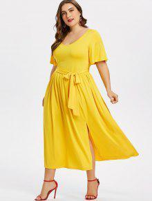 بالإضافة إلى حجم شق فستان مربوط - الأصفر 3x