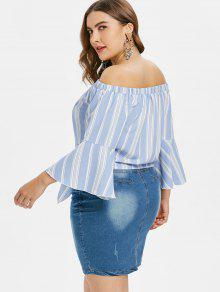 6542b727810eb 57% OFF  2019 Plus Size Stripe Bell Sleeve Blouse In LIGHT BLUE