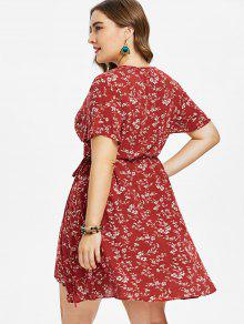 Tinto Size Con Floral Envoltura Surplice L Vestido De Vino Plus xT8gpqwnwF