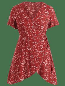 De Floral Tinto Vestido L Vino Plus Envoltura Surplice Size Con Sxxt7qwf