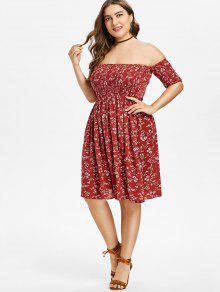 6b5285af064b 32% OFF] 2019 Plus Size Floral Off Shoulder Smocked Dress In RED ...