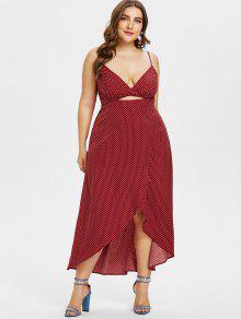 بالاضافة الى حجم رقصة البولكا نقطة غير المتماثلة اللباس كامي - نبيذ احمر L