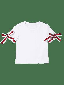Mangas Blanco Anudadas Camiseta Camiseta L Mangas g4qExn18