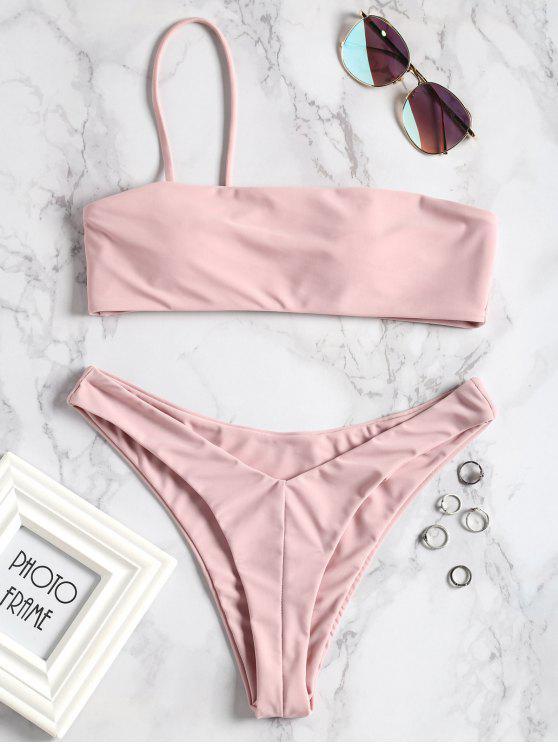 Conjunto de bikini de corte alto con un solo hombro - Rosa S