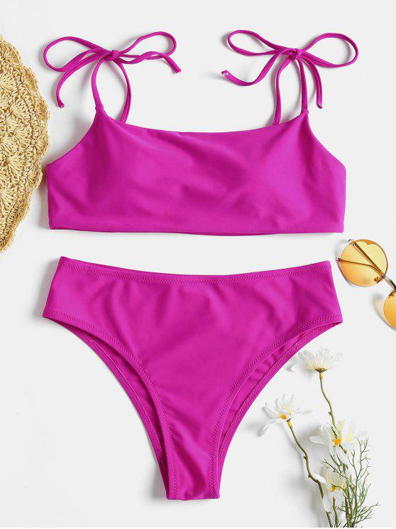 lady Tie Shoulder Padded Bikini Set - DIMORPHOTHECA MAGENTA L