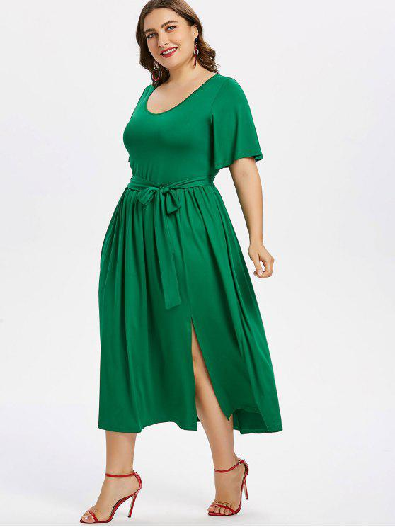 fancy Plus Size Slit Belted Dress - JUNGLE GREEN 3X