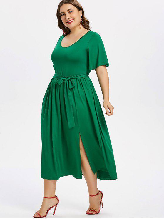 Vestido con cinturón de hendidura más el tamaño - Verde de Jungla  3X