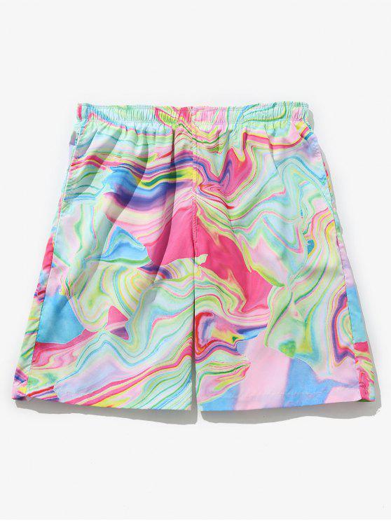 Shorts de placa de cordão impresso colorido - Multi L