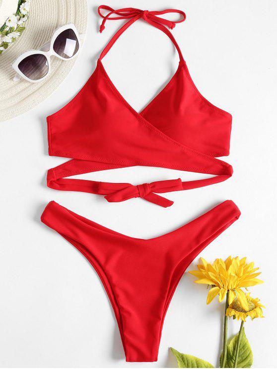 lady High Cut Wrap Bikini Set - LAVA RED L