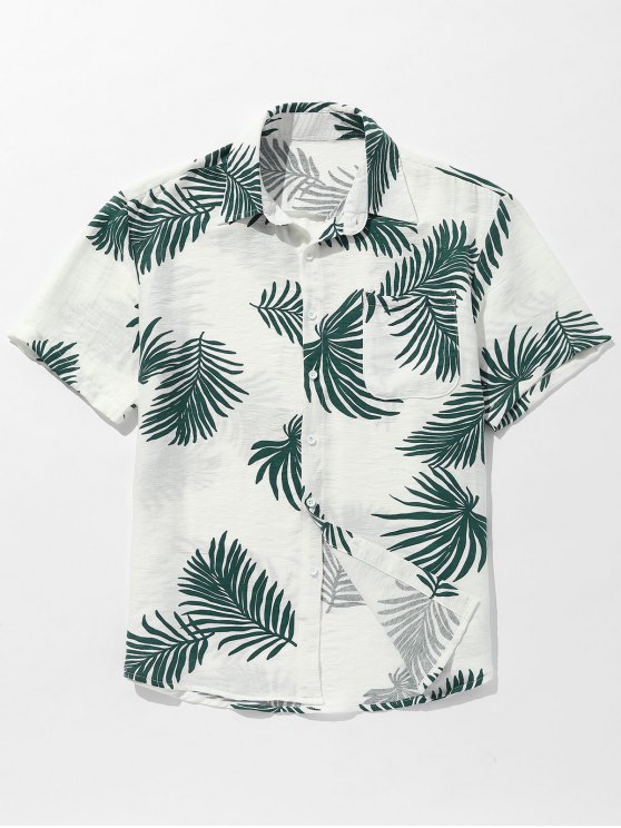 جيب أوراق مطبوعة زر حتى القميص - أخضر L