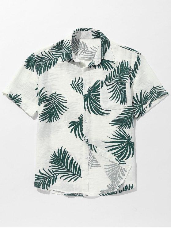 جيب أوراق مطبوعة زر حتى القميص - أخضر XL