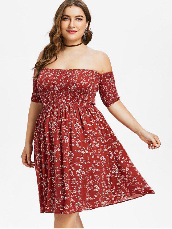hot Plus Size Floral Off Shoulder Smocked Dress - RED WINE L