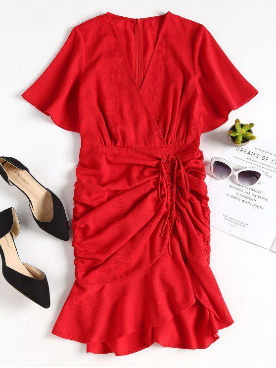 latest Pep Hem Drawstring Ruched Midi Dress - CHESTNUT RED S