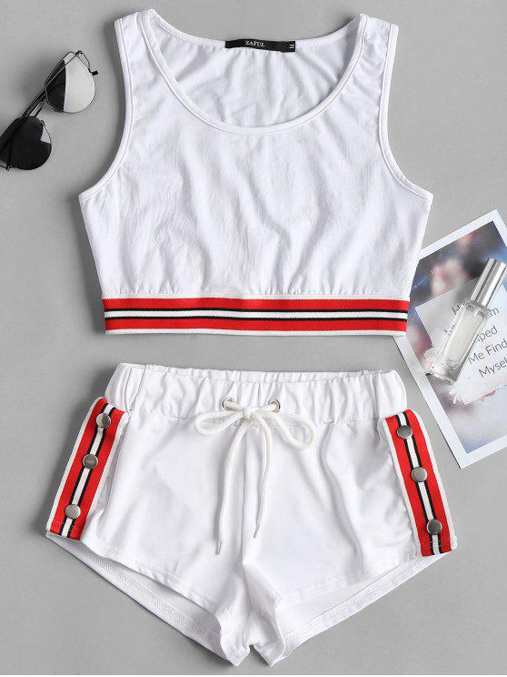 hot Striped Band Crop Top Shorts Two Piece Set - WHITE S