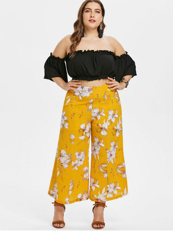 affordable Plus Size Off Shoulder Top and Floral Pants Set - BEE YELLOW L