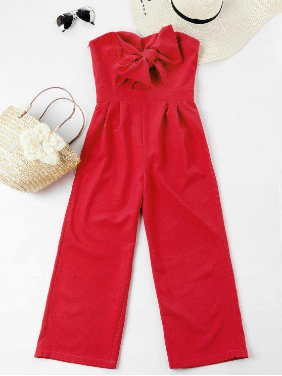hot Bowknot Tube High Waisted Jumpsuit - FIRE ENGINE RED L