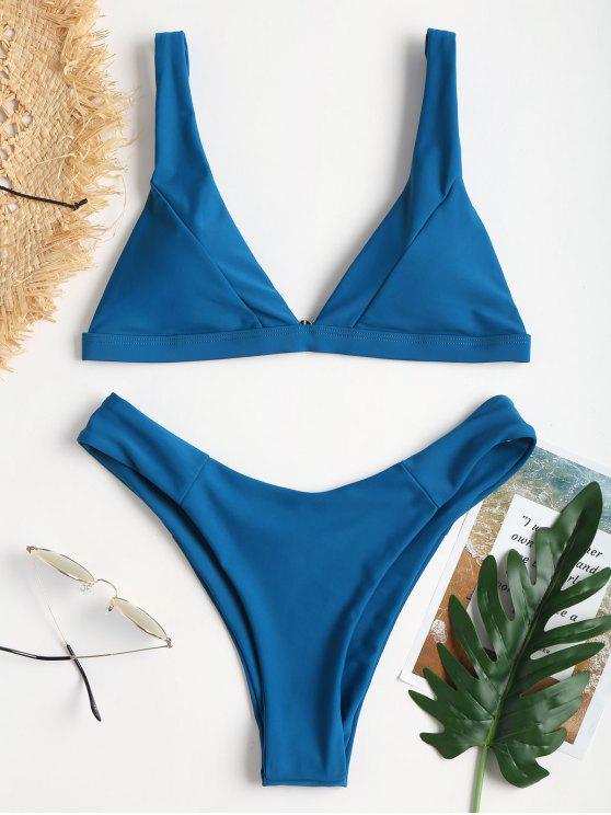 Plunge Hohes Bein Bikini - Saphir Blau L