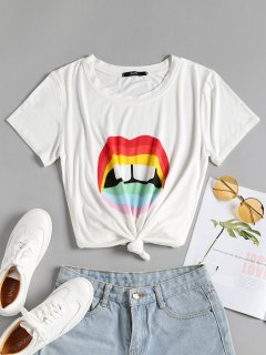 Knotted Colorful Lips Tee - White S