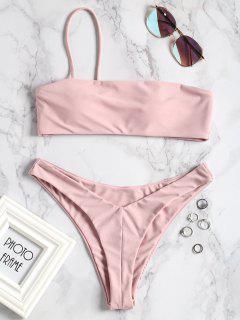 One-shoulder High Cut Bikini Set - Pink M
