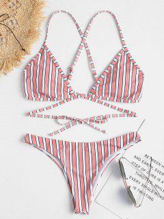 Crisscross Stripe Wrap Bikini Set - Rose M