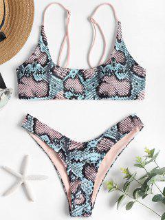 Conjunto De Bikini Bralette Con Estampado De Piel De Serpiente - Multicolor L