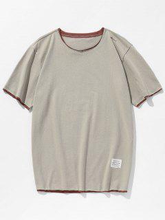 Raw Edge Double Layer T-shirt - Light Khaki S