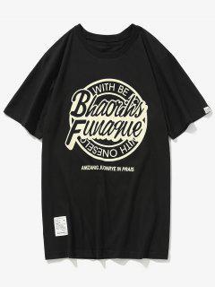 Letter Graphic Print Patch T-shirt - Black L