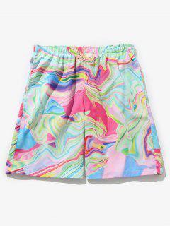 Colorful Printed Drawstring Board Shorts - Multi S