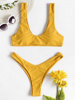 Hohes Bein GepolsterterTank Bikini - Sonne Gelb L