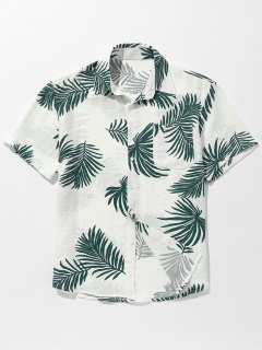 Pocket Leaves Printed Button Up Shirt - Green L